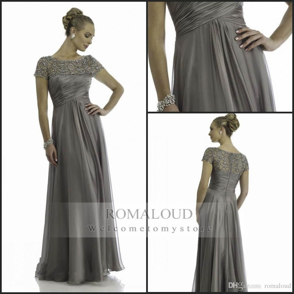 84053505ba Mother Tate Mother Of The Groom Dresses Plus Size 2015 Hot Mother Of Bride  Dresses Gray Chiffon Short Sleeve A Line Sequins Simple Pleats Cheap  Shining ...