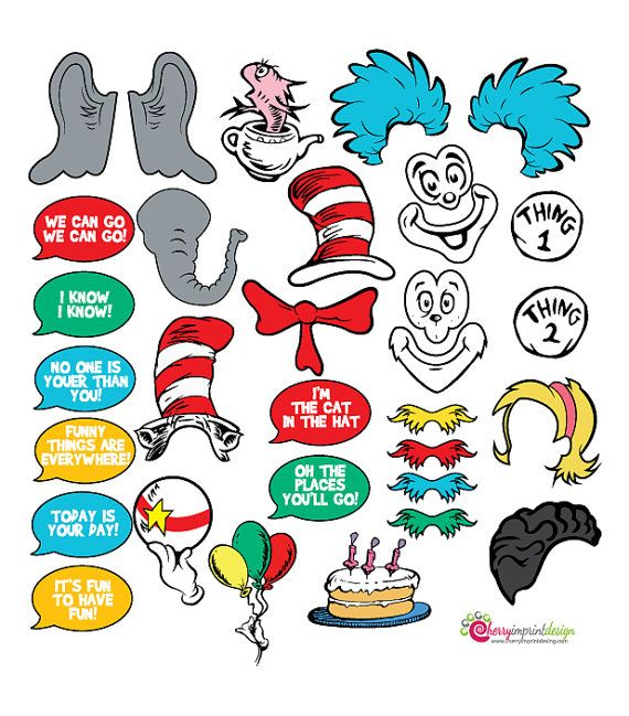 30 Awesome The Cat In The Hat Instant Download Photo Booth Props Diy