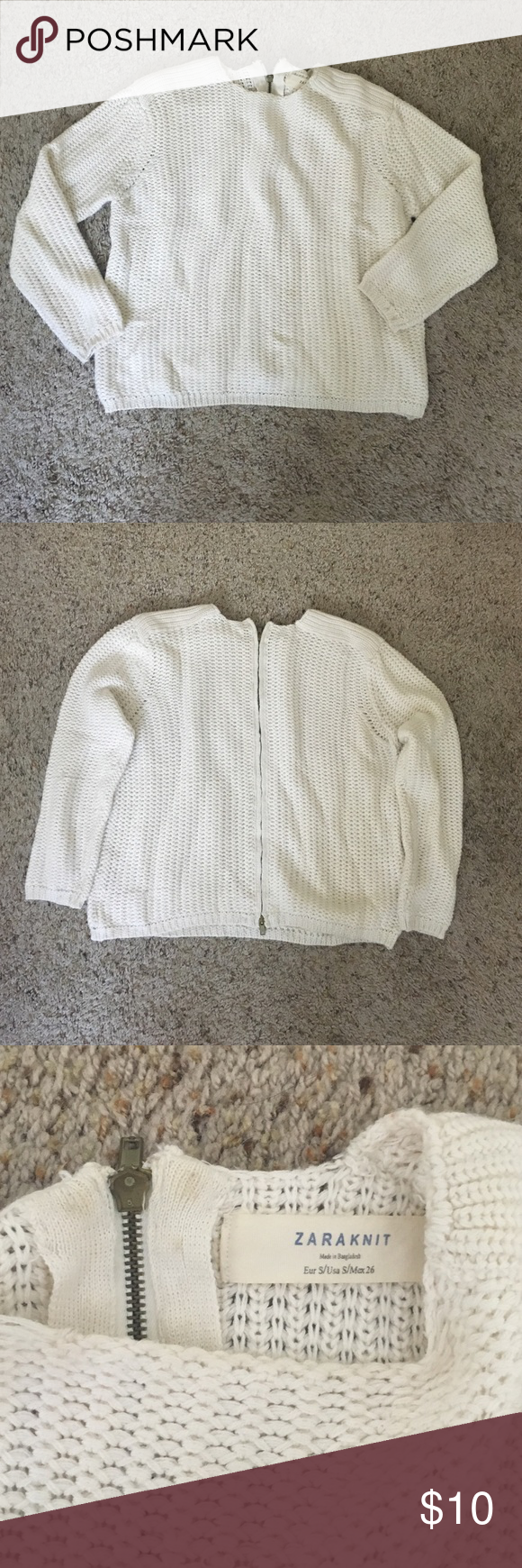 White Zara Sweater Gently used Zara box sweater- perfect for fall or winter! Zipper in back zips all the way down. Zara Sweaters Crew & Scoop Necks