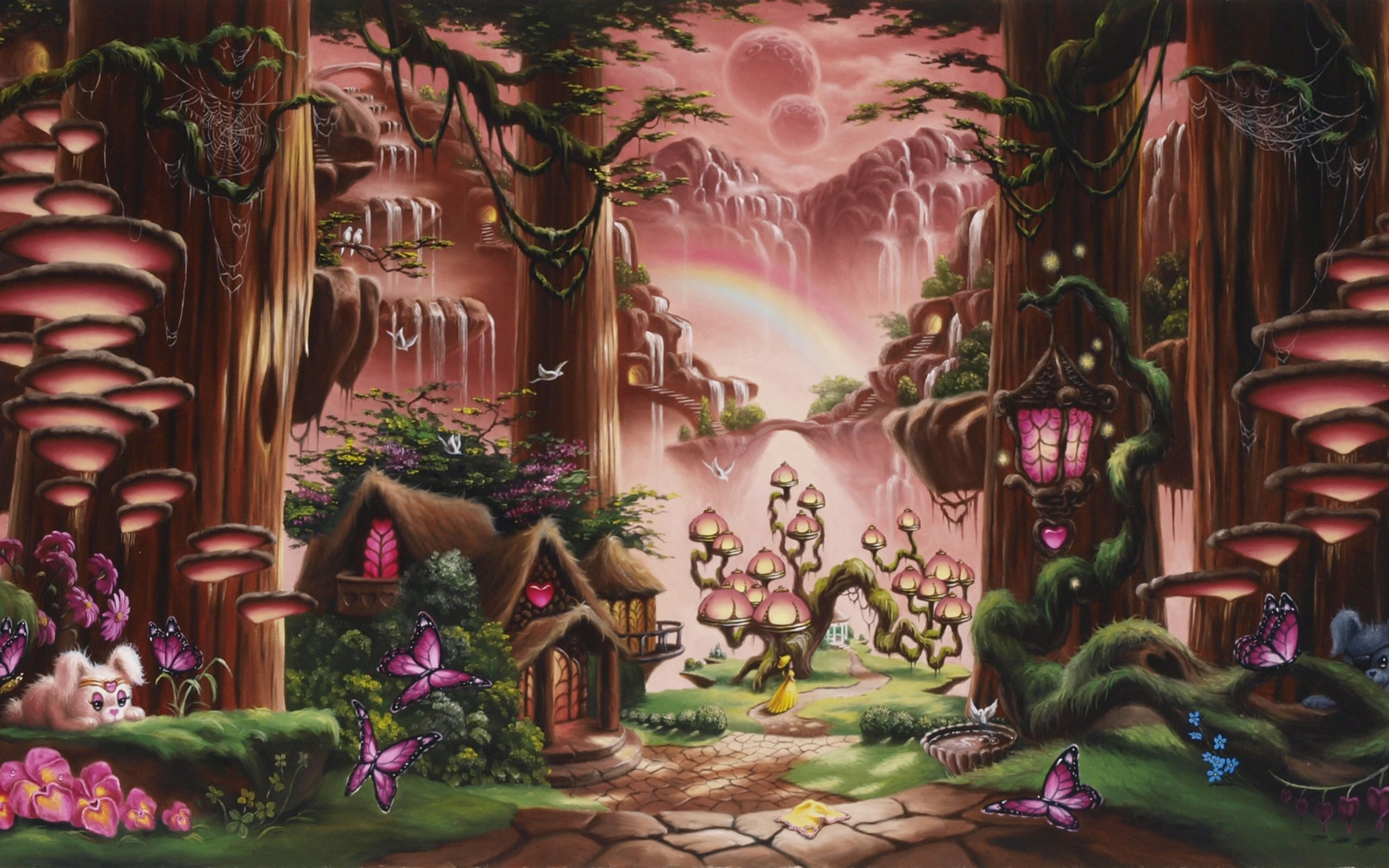 Fairy Tales Animation Pictures Fantasy Fairy Tale Art Magic Cartoon Trees Forest Cute Kids Children Fantasy Art Landscapes Fairytale Art Fairy Wallpaper