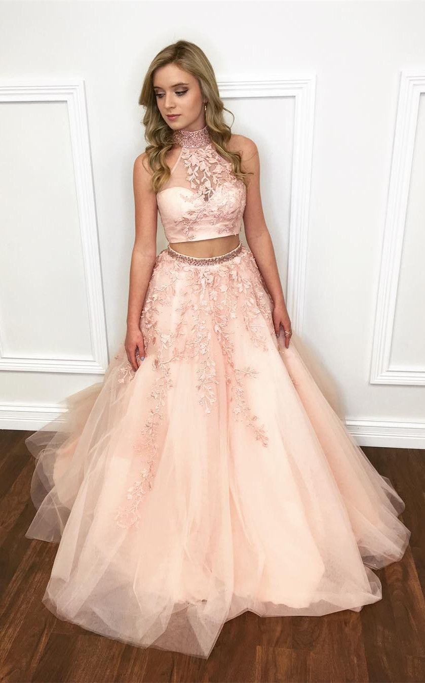 Two Piece Long Prom Dress, Pink Long Prom Dress from