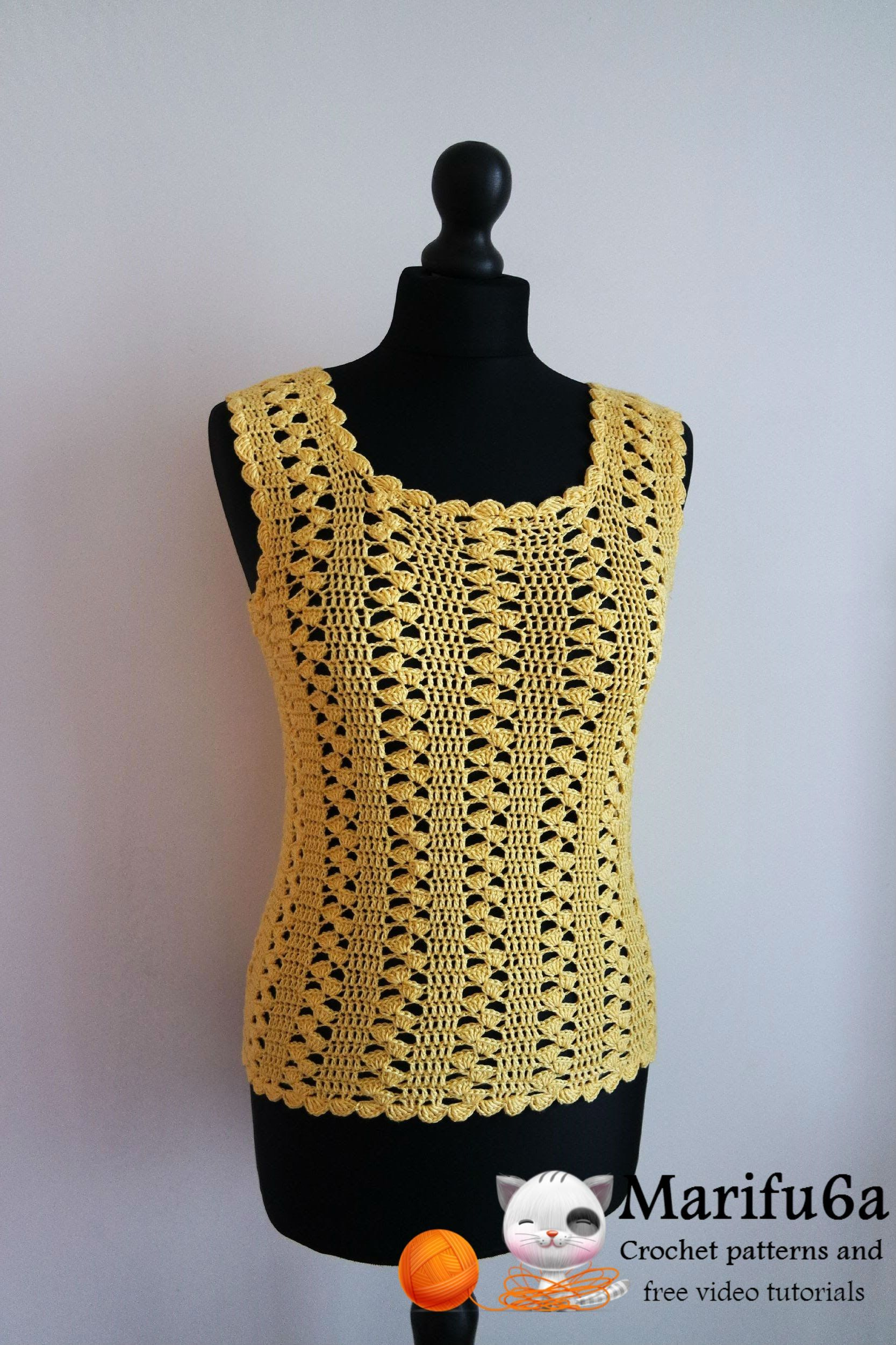 How to crochet easy yellow top pattern free tutorial by marifu6a ...