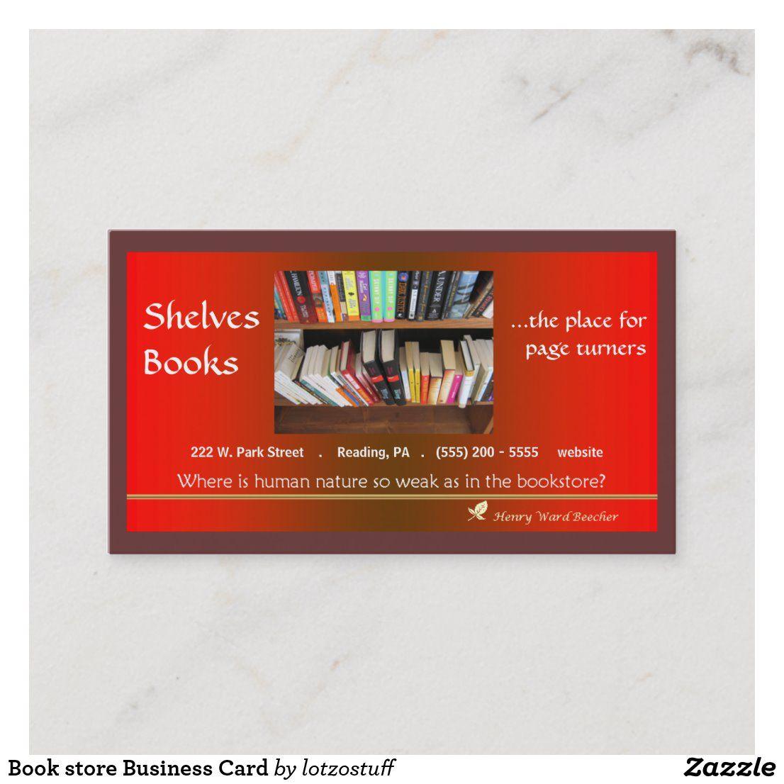 Book Store Business Card Zazzle Com Books Bookstore Business Card Books