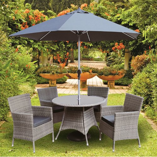 Sol 72 Outdoor Blanch 4 Seater Dining Set With Cushions And Parasol Outdoor Furniture Sets Dining Set Fire Pit Height