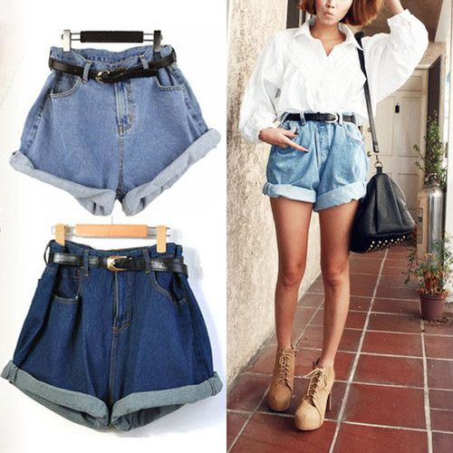 d3466d086e095 Hot Women Retro Girl High Waisted Oversize Crimping Boyfriend Jeans Shorts  Pants