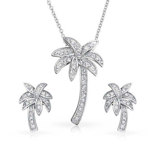 Bling Jewelry Sterling Silver Pave CZ Palm Tree Pendant and Earrings Set $49.99