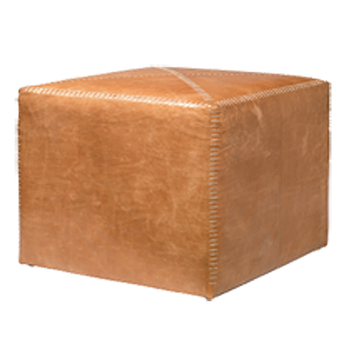 Large Buff Leather Ottoman By Jamie Young Company