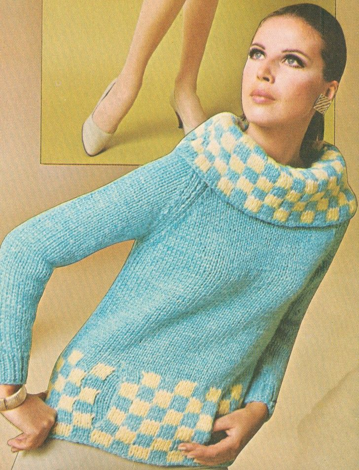 Vintage 1960s Cowl Neck Checked Pullover Sweater with Muff Pocket ...
