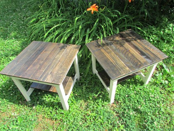 TWO End Tables, Cottage Style Wood, Side Table, Bedside Table, Nightstand,