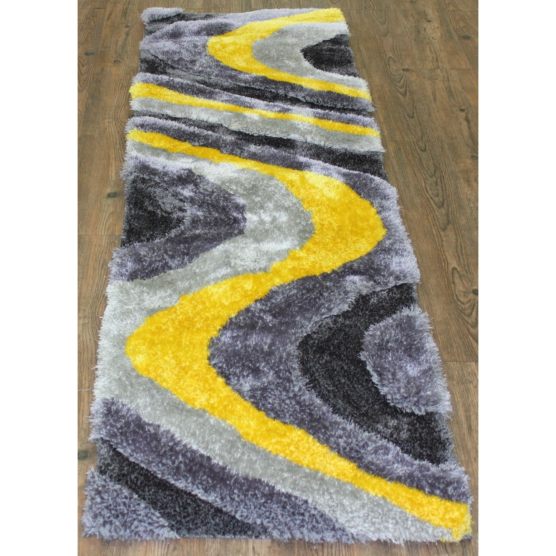 Dazzling Shaggy Area Rug Runner Featuring Vibrant Shades of Yellow Silver and Gray