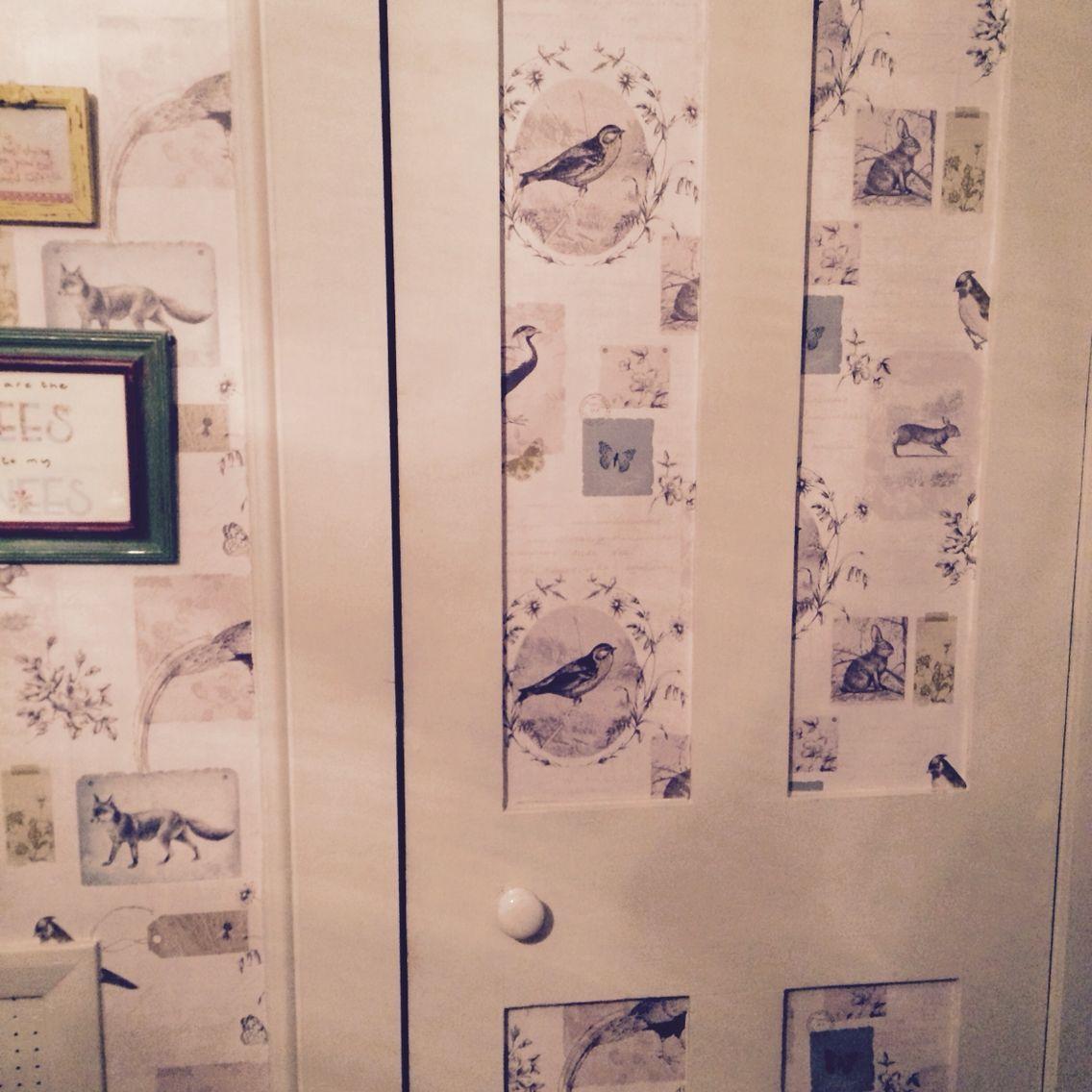 Wallpaper cupboard door vintage bird design