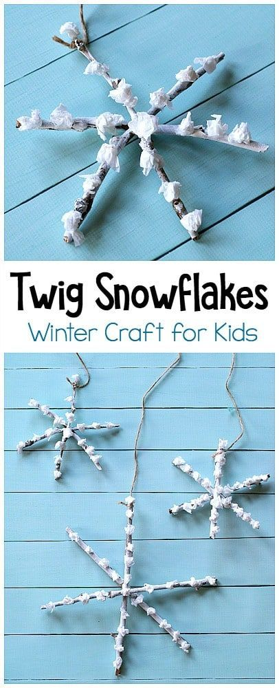 Tissue Paper and Twig Snowflake Craft for Kids - Buggy and Buddy