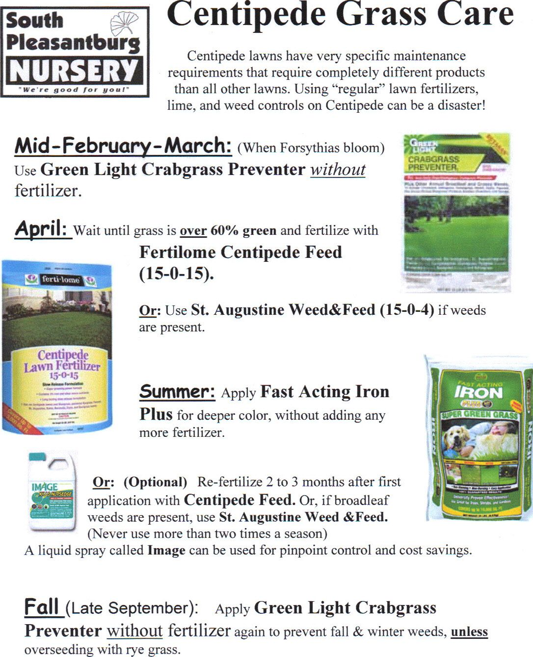Centipede Grass Care Sheet South Pleasantburg Nursery Grass Care Centipede Grass Lawn Care Tips