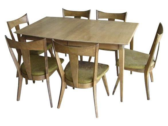 Heywood-Wakefield 1950s Dining Table  Six Chairs on Chairish