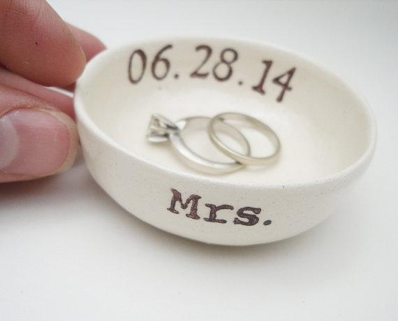 custom MRS gift wedding date RING HOLDER gift for bride ring holder wedding date bridal shower gift hers ring pillow wedding gift ceramic