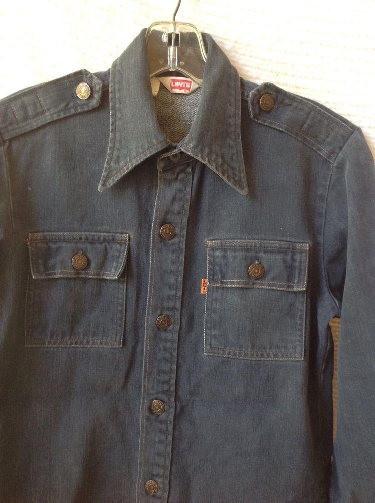 ce865d59e36 Vintage Levi Jean Shirt Men Women Orange Tab Denim Made USA Shoulder  Epaulettes  Levis  ButtonFront