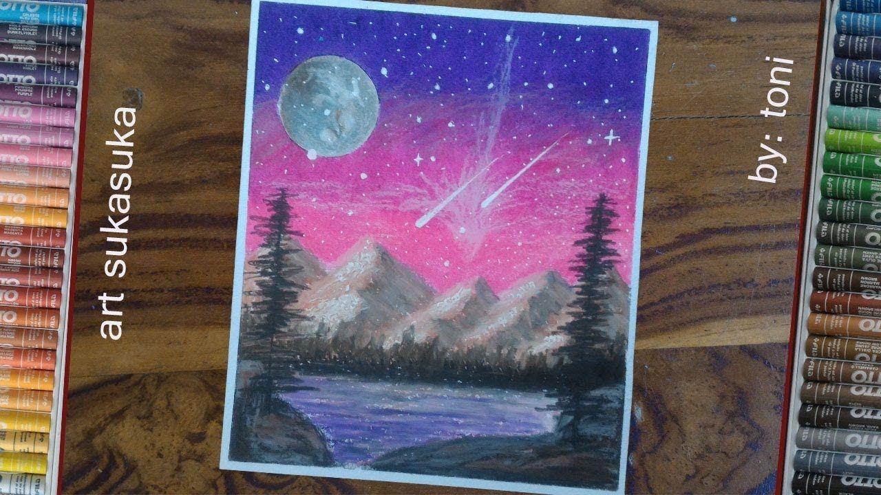 Cara Menggambar Pemandangan Langit Malam Dan Gunung Dipinggiran Danau Ga Langit Malam Cara Menggambar Gambar