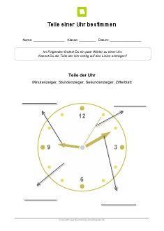 Arbeitsblatt: Teile einer Uhr bestimmen