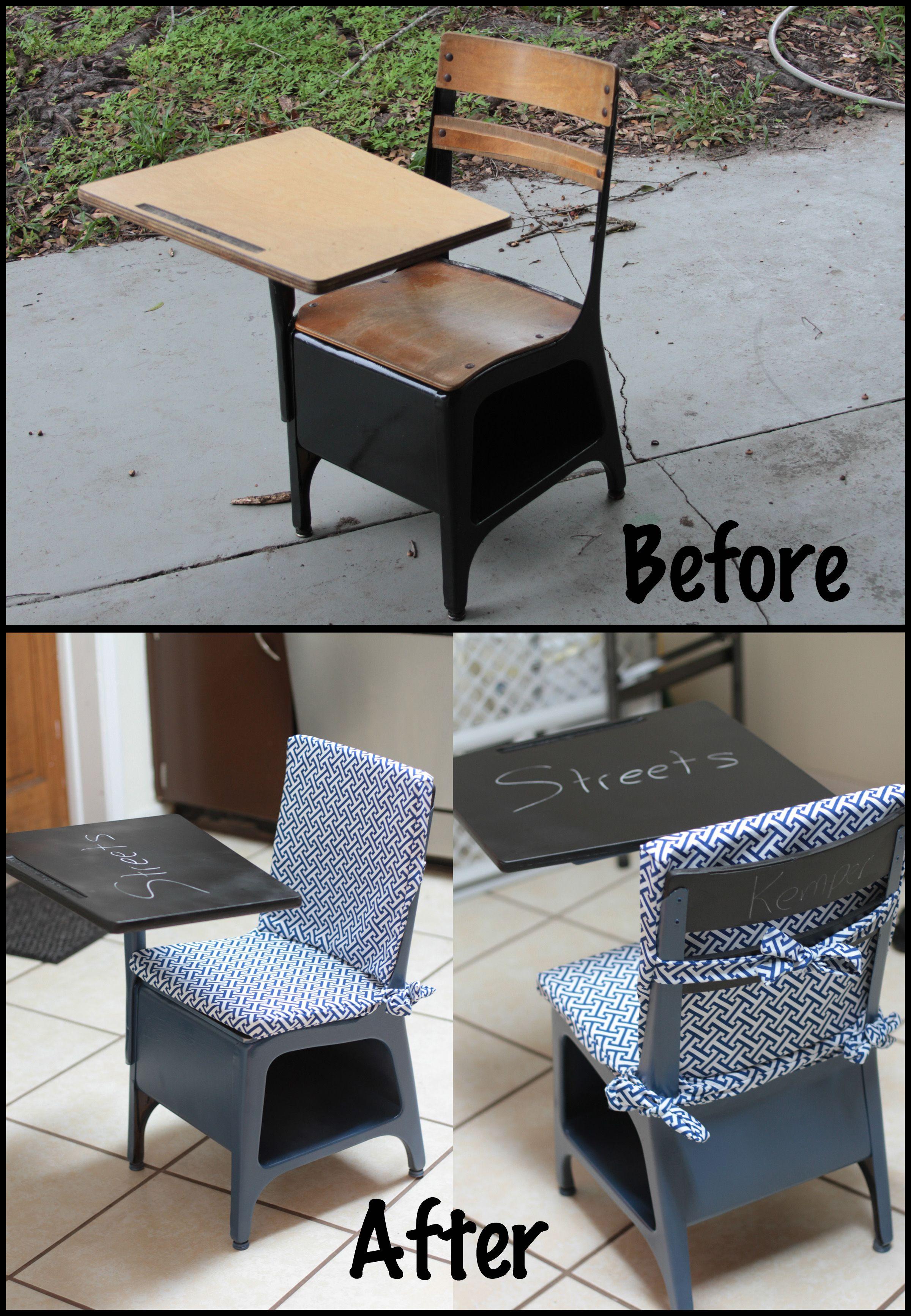 Pleasing Old School Desk Restoration Painted School Desks Antique Short Links Chair Design For Home Short Linksinfo