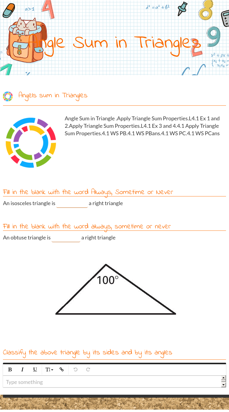 """Wizer.Me blended worksheet """"Angle Sum in Triangles"""