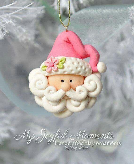 Polymer Clay Christmas Decorations.Clay Santa Head Ornament Craft Sites Clay Polymer Clay