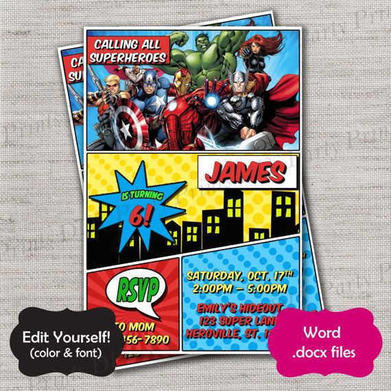 Avengers invite Template,DiY,DIY Template,Instant Download - microsoft word party invitation template