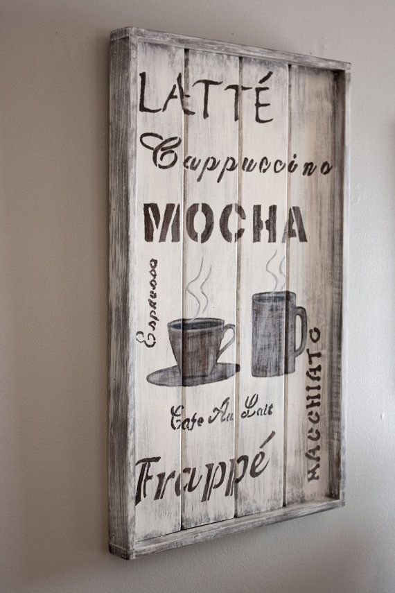 Rustic coffee themed wall plaque by brytaegainspired on for Kitchen themed wall art