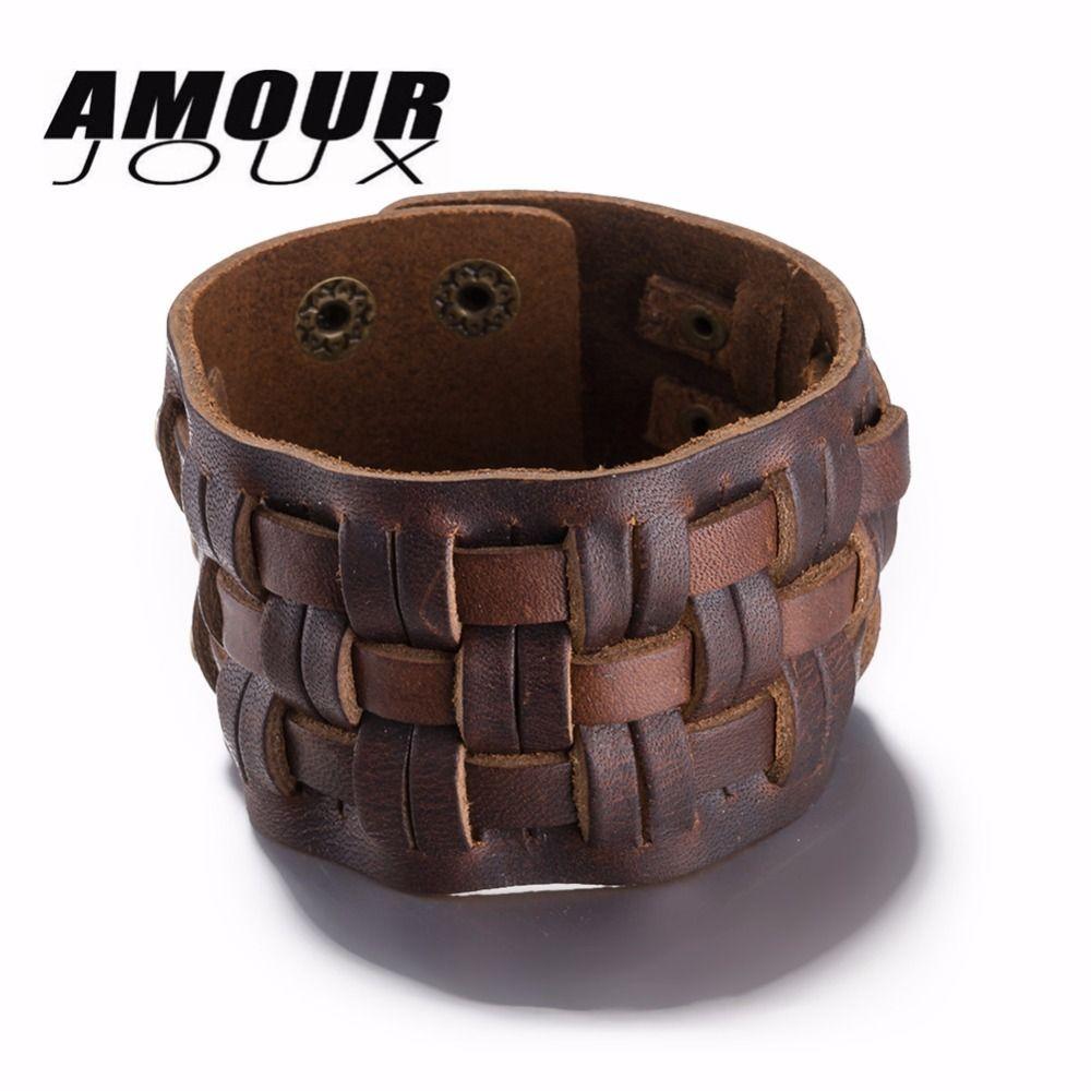 Amourjoux punk rock vintage wrap bracelet men brown leather bracelet
