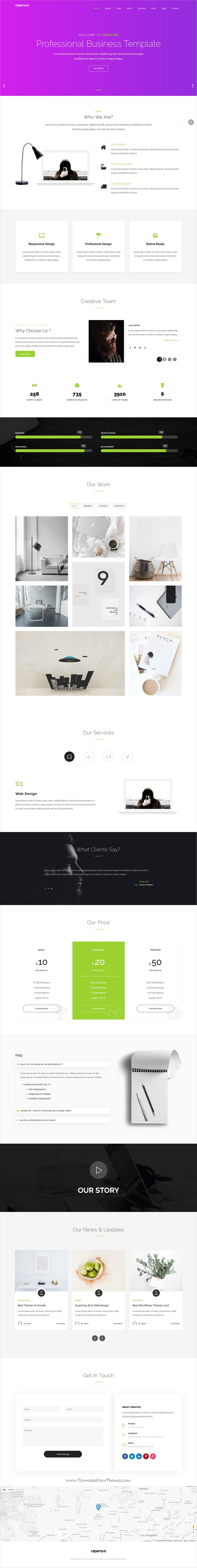 Creativo is clean and modern parallaz design 7in1 responsive #HTML template for #startup business, web #studio and creative agencies website download now..