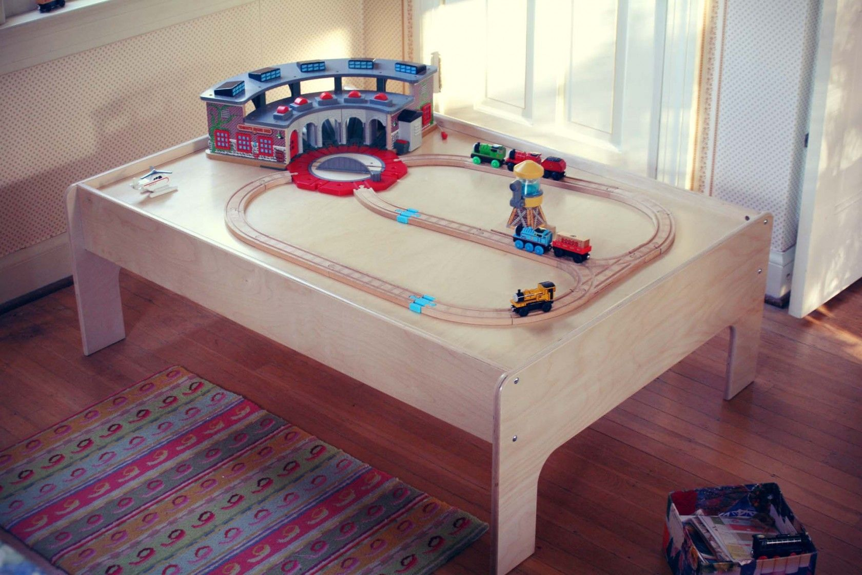 Modern Train Table for Kids is made of Baltic Birch and finished with a non- & Modern Train Table for Kids is made of Baltic Birch and finished ...