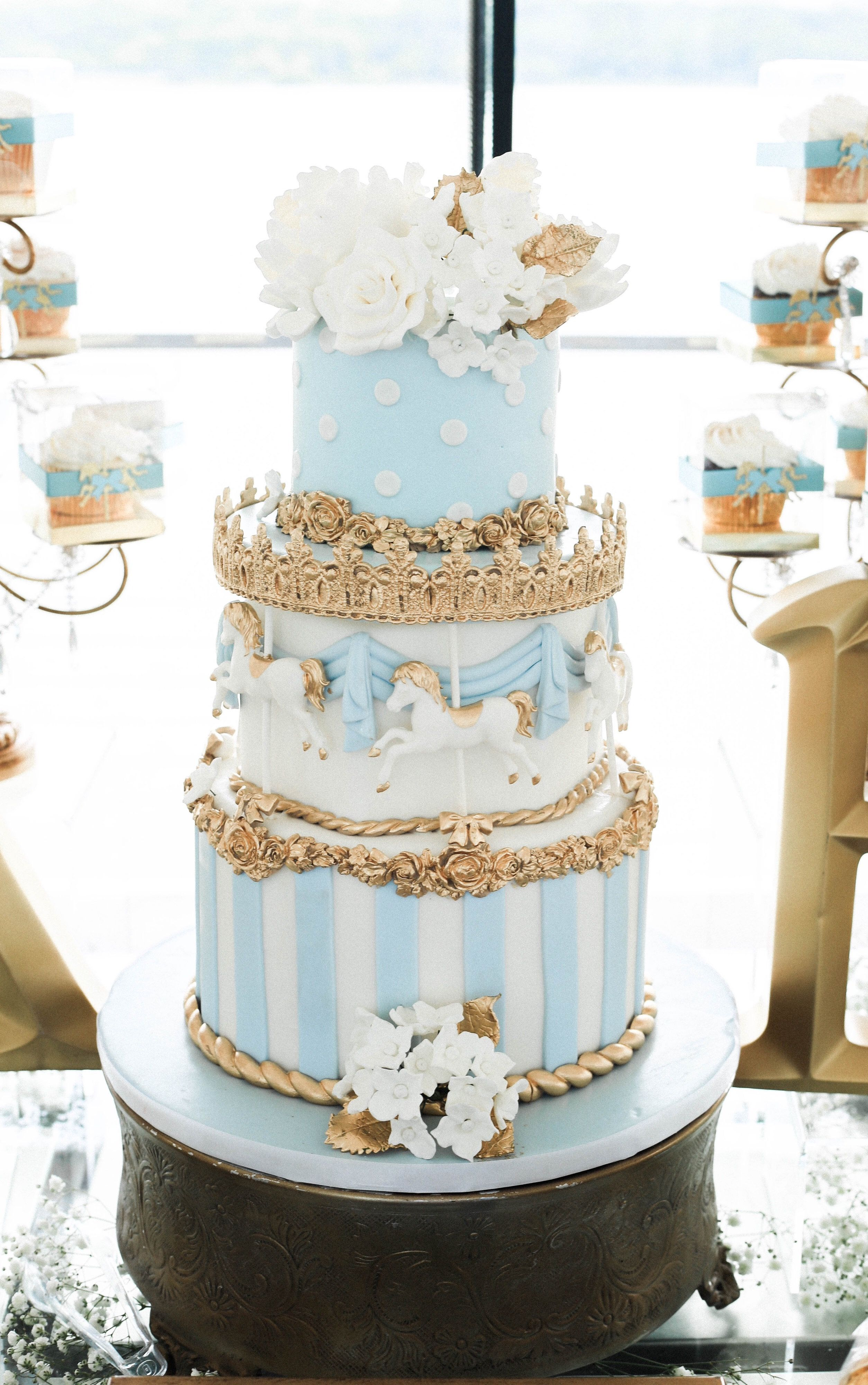 Pale blue and gold carousel cake by Lady K\'s Bake Shop | Lady K\'s ...
