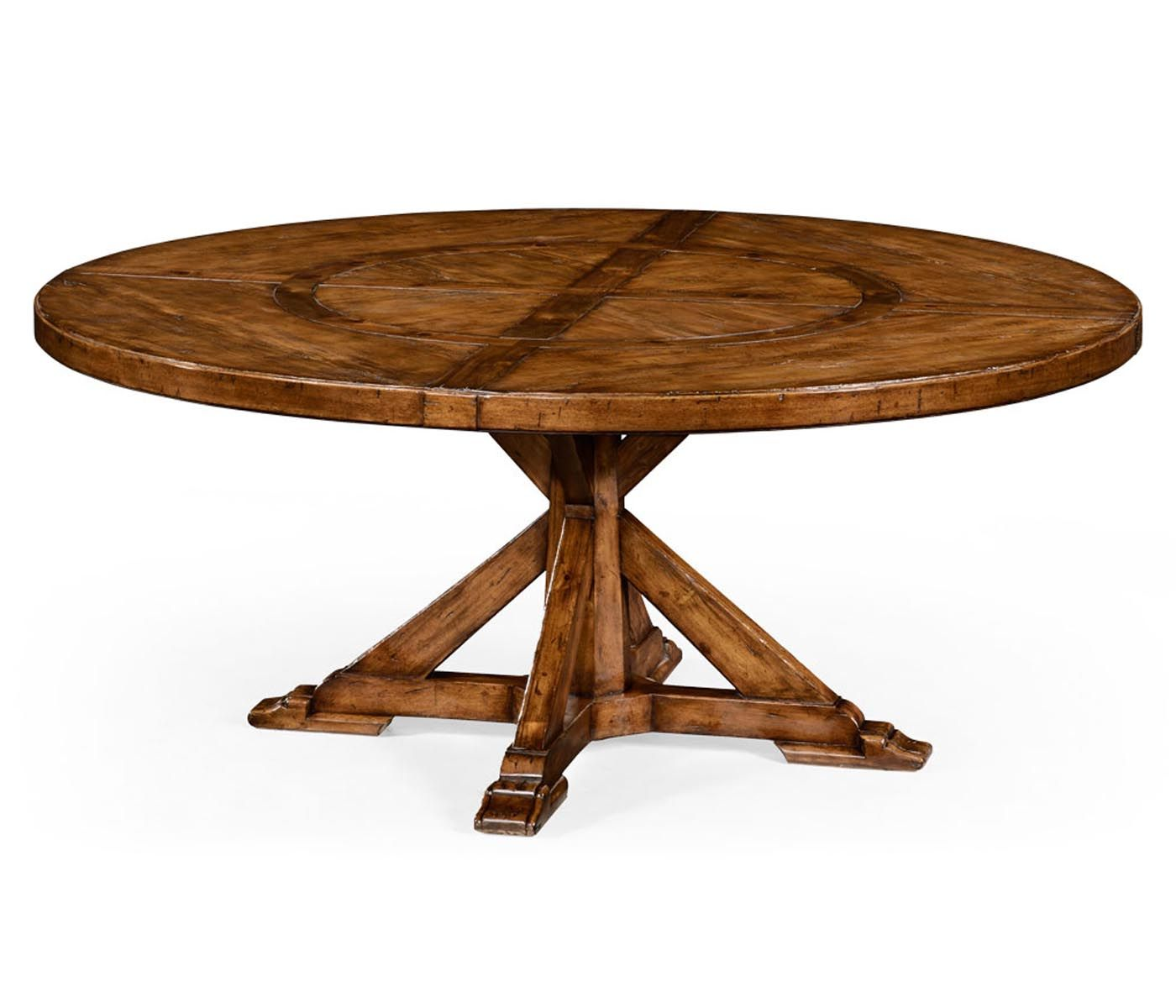 Country style walnut round dining table (inbuilt lazy susan) 72 x ...
