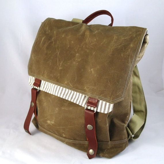 Brown Ticking Waxed Canvas Backpack by WoolyBison on Etsy    I want!