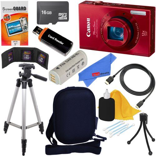 Hot New Release Canon Powershot Elph 520 Hs 10 1 Mp Cmos Digital Camera Red Nb 9l Battery 10pc Bundle 16gb Deluxe Accessory Kit The Canon Powershot Elp