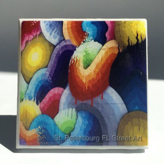 This Listing Is For One 1 Amazing Ceramic Tile Fridge Magnet A Photo Of An Urban Mural Public Art From The Central Arts District In St Petersburg