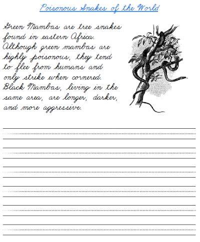 Free Printable Cursive Handwriting Worksheet On Green Mamba Snakes