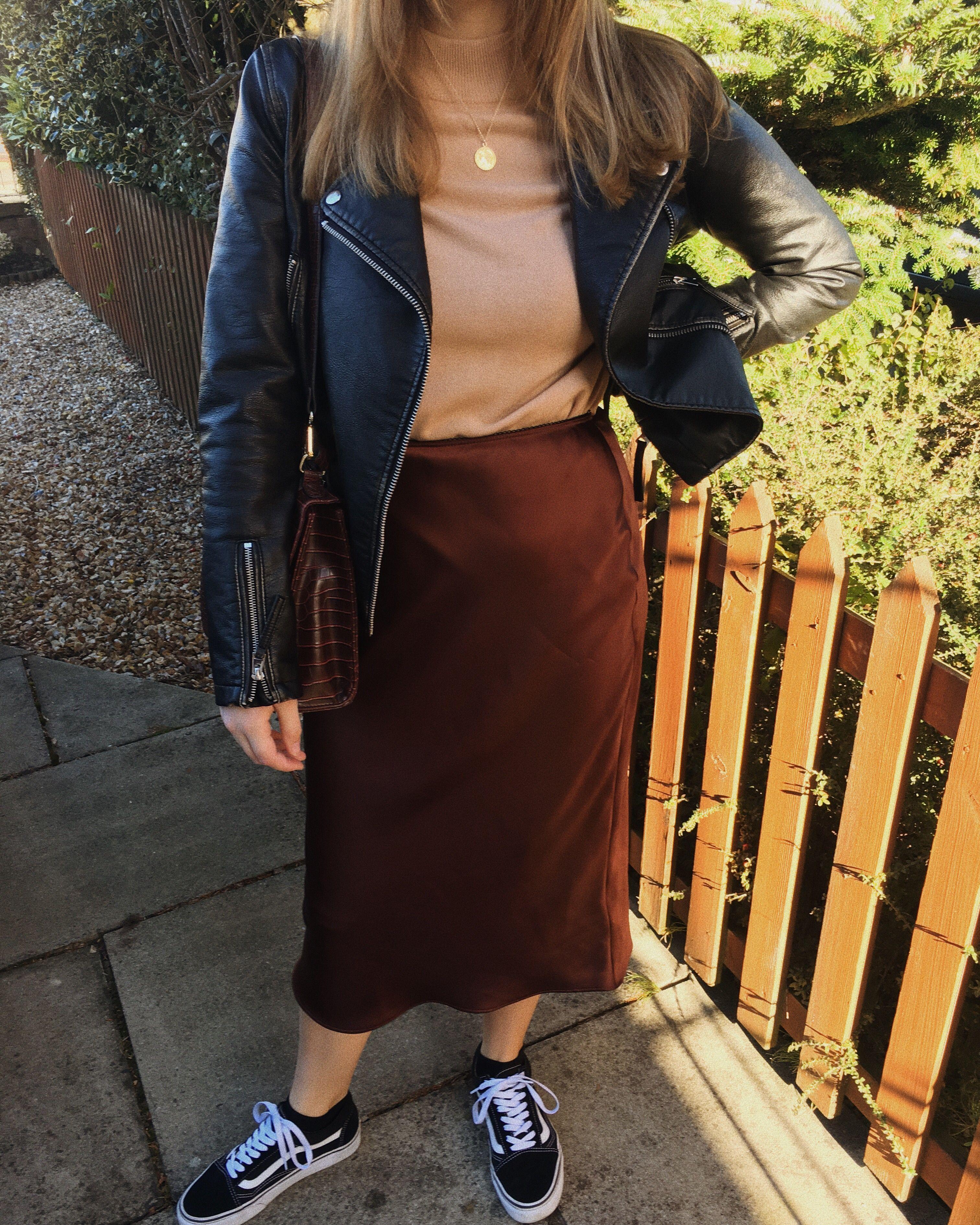 00551586ecee Camel Jumper- second hand M&S Chocolate brown satin midi skirt- Topshop  Faux leather jacket- Topshop Burgundy satchel- ASOS Shoes- Old Skool Vans  Gold ...