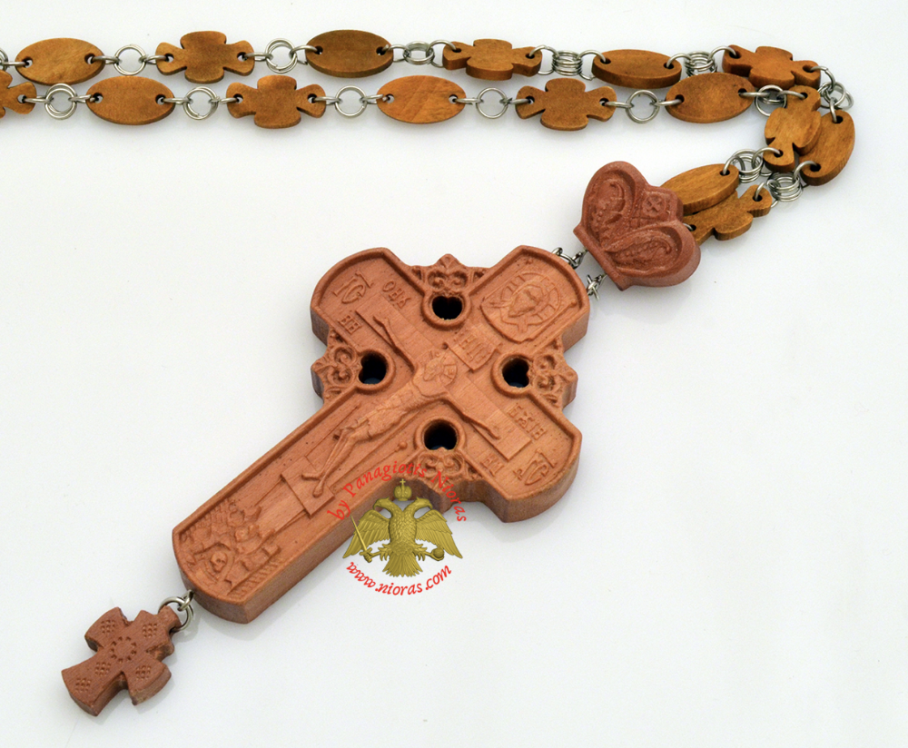 Orthodox Christ Pectoral Cross Wood Carved With Wooden Cross