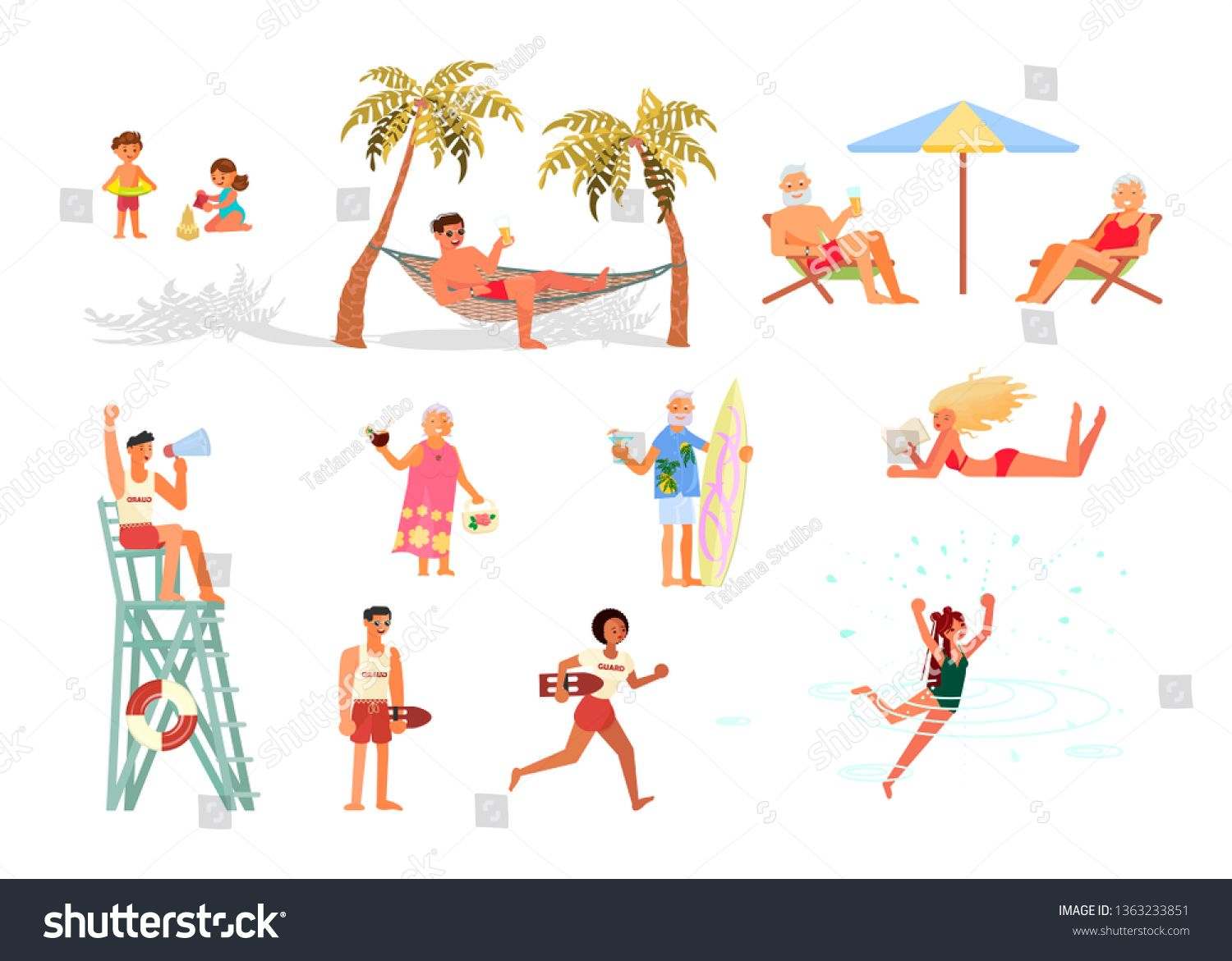Set of different People on the sea coast beach. Men, women, children and elderly characters on summer vacation Isolated on white background. Flat Art Vector illustration ,