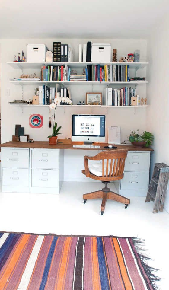 Instead Of Having A Tall Filing Cabinet Darkening A Corner, Why Not Have A  Series Of Short Ones Holding Your Desk Up