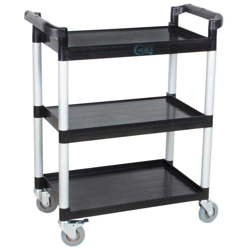 Choice Black Utility Bus Cart With Three Shelves 32 X 16 Utility Cart Rolling Cart Rolling Utility Cart