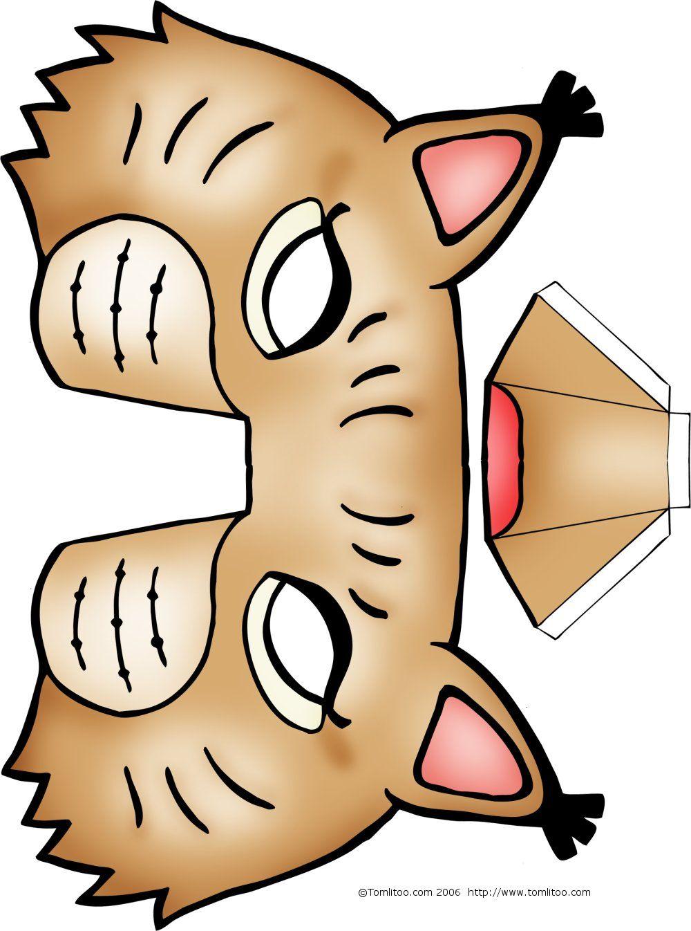 Masques d 39 animaux imprimer et colorier pour les enfants - Masque de chat a colorier ...