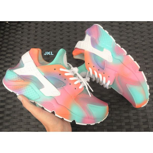 Summer Pastels Nike Air Huarache Customs. ($196) ❤ liked on Polyvore featuring shoes, grey, sneakers & athletic shoes, tie sneakers, unisex adult shoes, grey shoes, gray shoes, structure shoes, unisex shoes and tie shoes