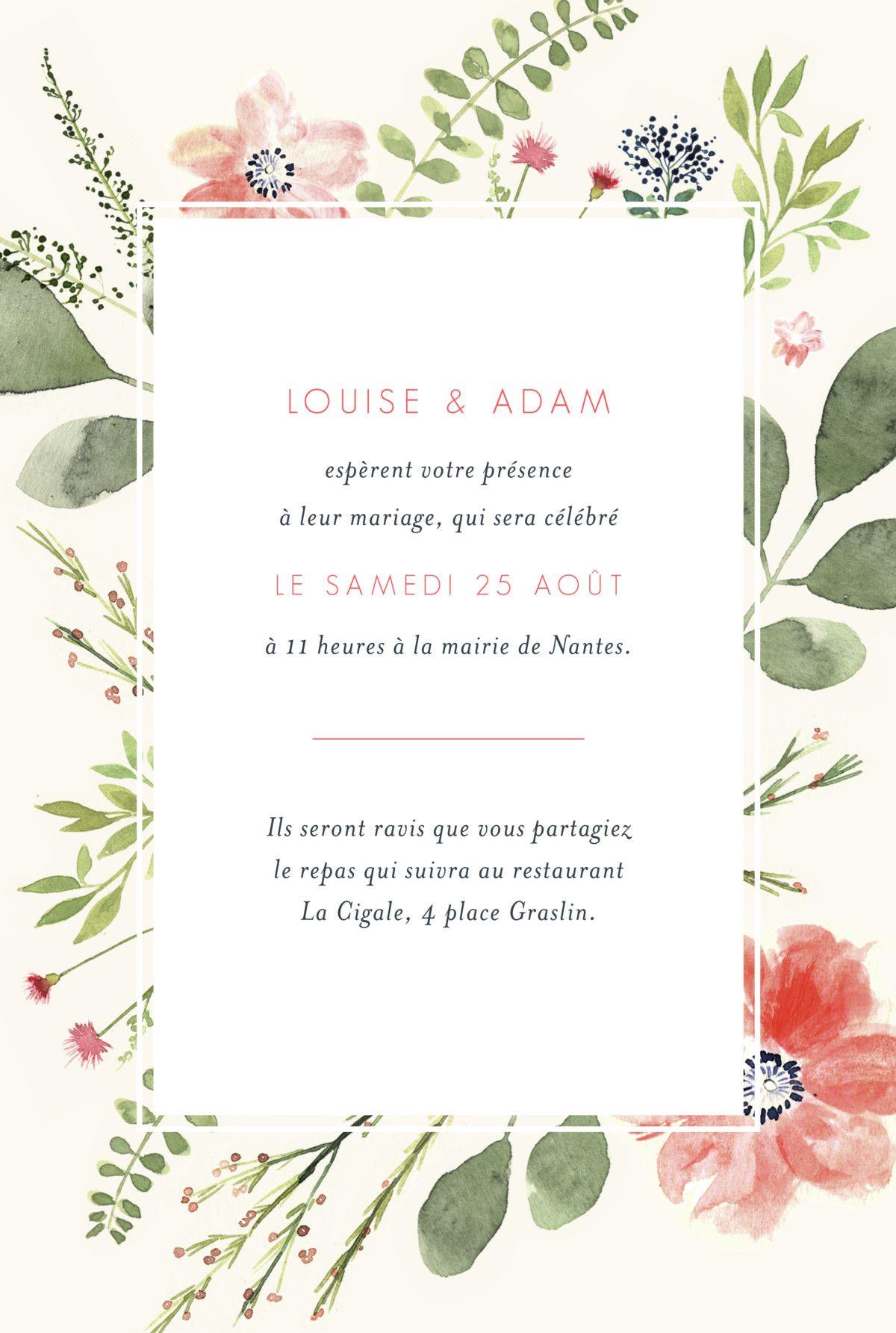 Faire Part De Mariage Fleurs Aquarelle Portrait Faire Part