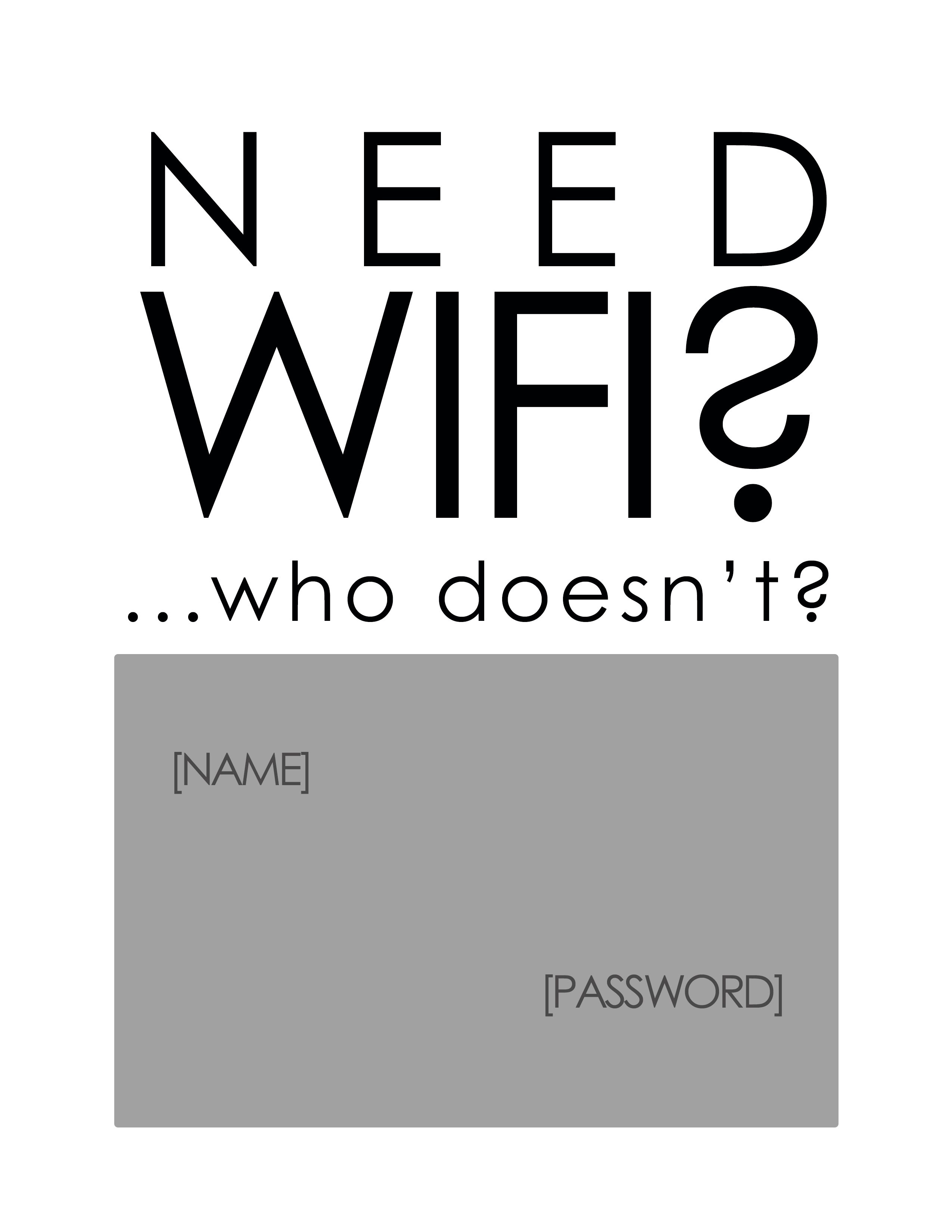 Printable Room Decor Free Printable Write In The Name Password For Your Wifi And
