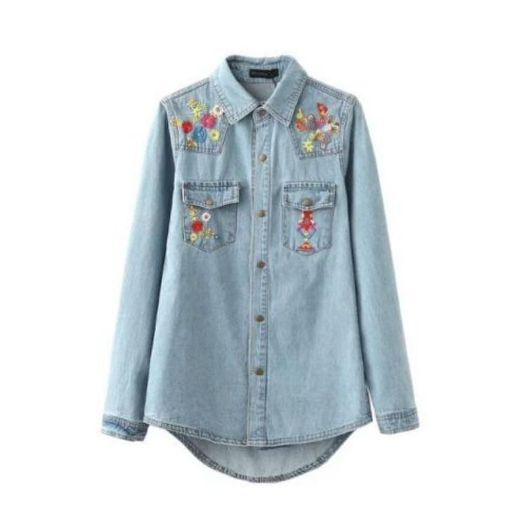 2b2ccb34c1c1 Womens Casual Floral Embroidered Lapel Denim Tops Blouse Shirts Long Sleeves  R
