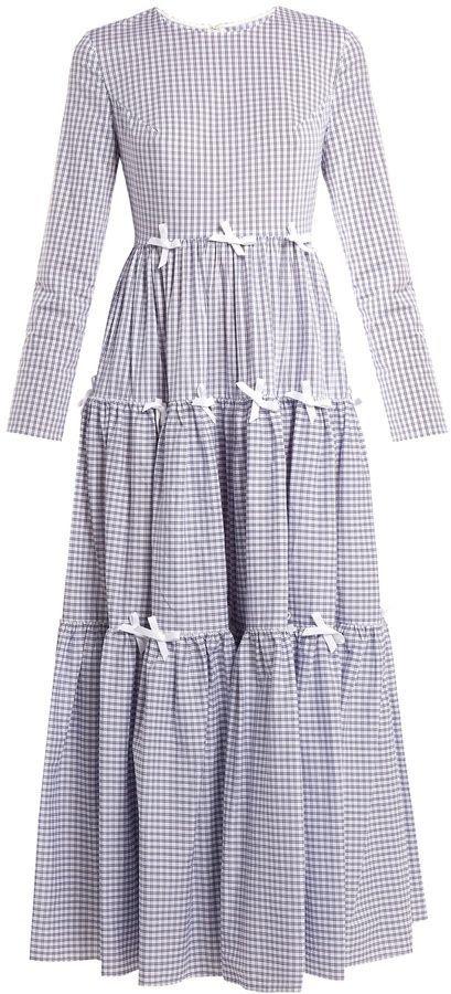 0eee0803ae HUISHAN ZHANG Minna bow-trimmed checked midi dress