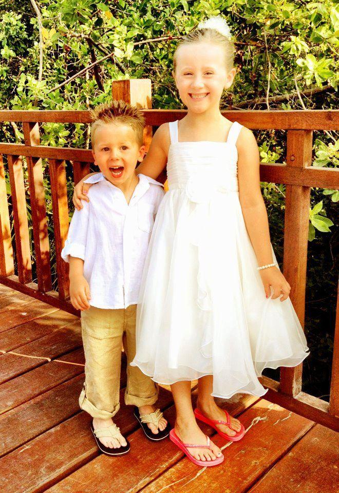 My Kids Ring Bearer Flower Girl In Their Cousin S Beach Wedding