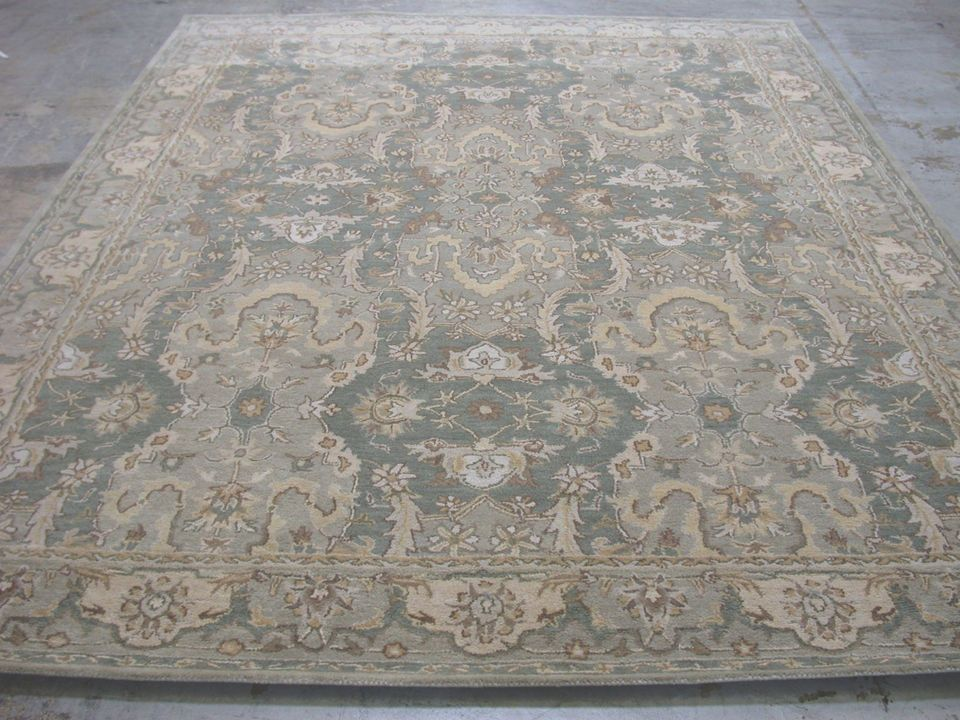 9 X 12 Pottery Barn Thyme Persian Style New Hand Tufted Wool Green Rug Carpet