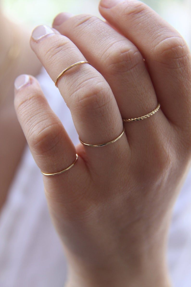 14K Gold Filled Thin Stacking Ring Minimalist Ring Gift for Her Gold Ring Sterling Silver Ring Midi Ring 1 mm Dainty Ring Skinny Ring